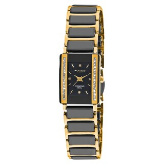 Akribos XXIV Women's Rectangular Diamond-Accented Ceramic Quartz Bracelet Watch (Option: Black/Gold-tone)