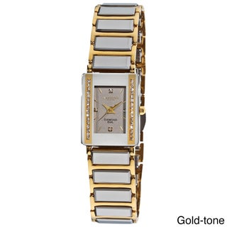 Akribos XXIV Women's Rectangular Diamond-Accented Ceramic Quartz Bracelet Watch with FREE Bangle