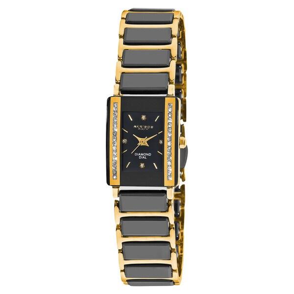 Akribos XXIV Women's Rectangular Diamond-Accented Ceramic Quartz Bracelet Watch with FREE Bangle
