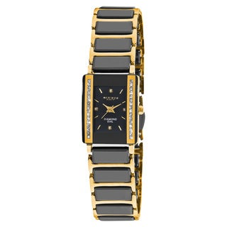 Akribos XXIV Women's Rectangular Diamond-Accented Ceramic Quartz Black Bracelet Watch
