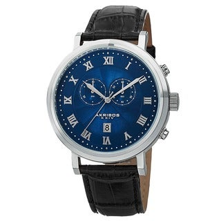 Akribos XXIV Men's Multifunction Swiss Chronograph Leather Blue Strap Watch