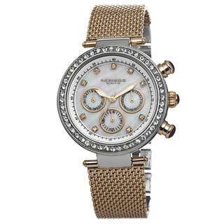 Akribos XXIV Women's Multifunction Quartz Crystal Stainless Steel Two-Tone Bracelet Watch