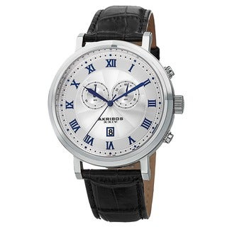 Akribos XXIV Men's Multifunction Swiss Chronograph Leather Silver-Tone Strap Watch