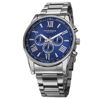 Akribos XXIV Men's Multifunction Tachymeter Stainless Steel Blue Bracelet Watch with Gift Box