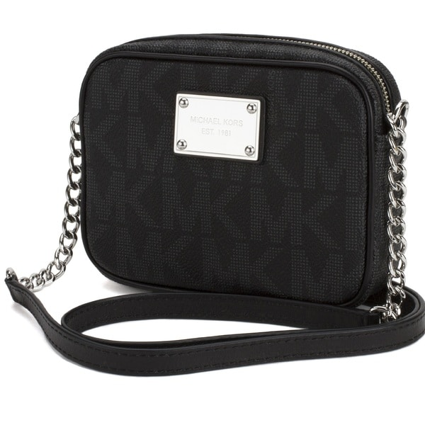 Michael Kors Jet Set Black Signature Large East/West Crossbody Handbag