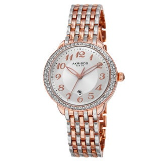 Akribos XXIV Women's Quartz Swarovski Crystal Bezel Alloy Two-Tone Bracelet Watch