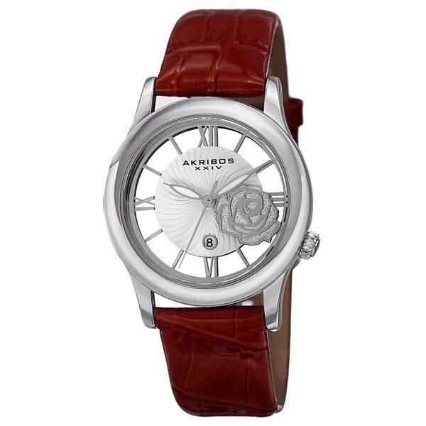 Akribos XXIV Women's Floral Quartz Leather Red Strap Watch