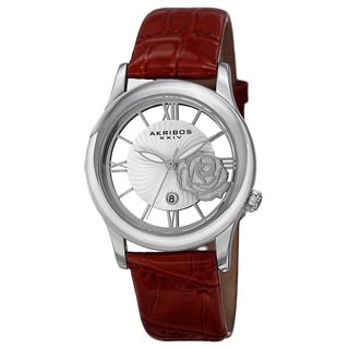 Akribos XXIV Women's Floral Quartz Leather Red Strap Watch