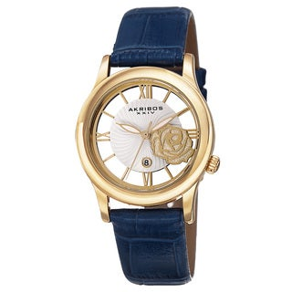 Akribos XXIV Women's Floral Quartz Leather Blue Strap Watch