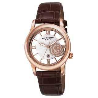 Akribos XXIV Women's Floral Quartz Leather Rose-Tone Strap Watch
