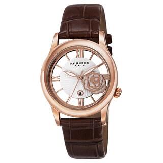 Akribos XXIV Women's Floral Quartz Leather Rose-Tone Strap Watch - Brown