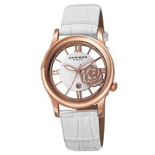 Akribos XXIV Women's Floral Quartz Leather White Strap Watch