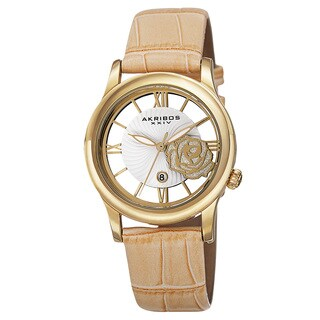 Akribos XXIV Women's Floral Quartz Leather Strap Watch with FREE GIFT - Gold