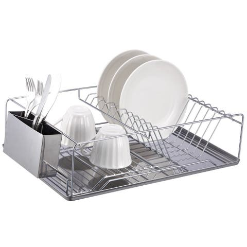 Home Basics Chrome Dish Rack - Silver