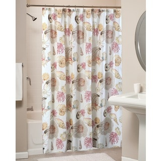 greenland home fashions castaway multi shells shower curtain - Greenland Home Fashions
