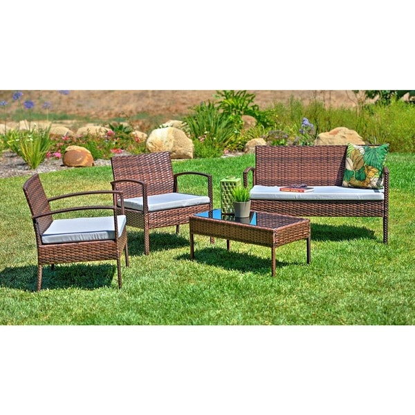 Teaset 4 Piece Patio Conversation Set With Grey Cushions