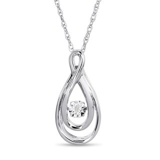 Sterling Silver Shimmering Stars Collection Swirl Teardrop Diamond Accent Necklace - White H-I