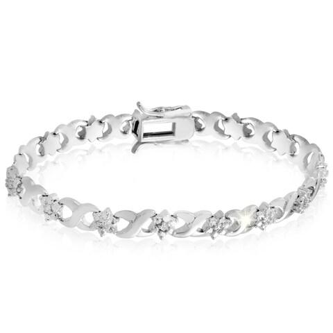 Platinum Over Brass Diamond Flower 7-inch Bracelet (J-K, I3)