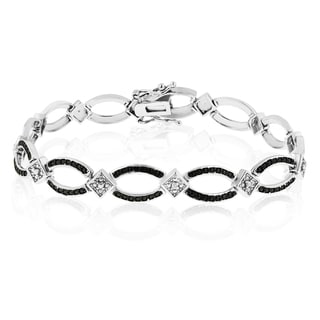 Platinum Overlay Contemporary Black and White Diamond 7-inch Bracelet (J-K, I1-I2)