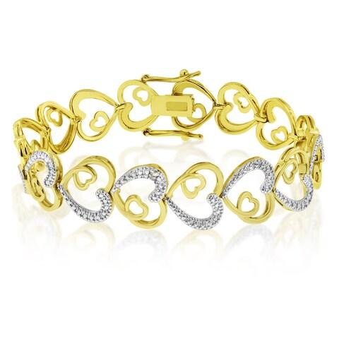 Platinum Overlay Two-tone Love Heart Diamond 7-inch Bracelet (J-K, I1-I2)