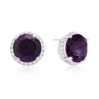 7 TGW Amethyst and Created Diamond Halo Stud Earrings In Sterling Silver
