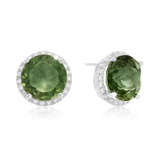 Sterling Silver 7ct TGW Green Amethyst and Created Diamond Halo Stud Earrings