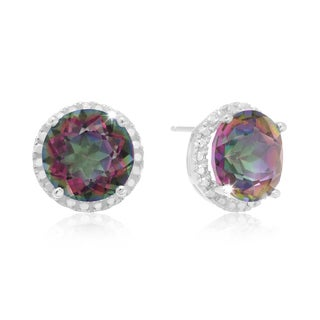Sterling Silver 7ct TGW Mystic Topaz and Created Diamond Halo Stud Earrings