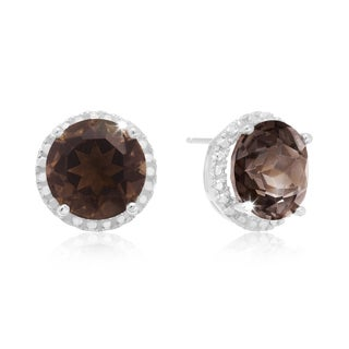 Sterling Silver 7ct TGW Smoky Topaz and Created Diamond Halo Stud Earrings
