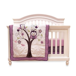 Nemcor Baby's First Plum Owl Meadow 4-piece Crib Bedding Set