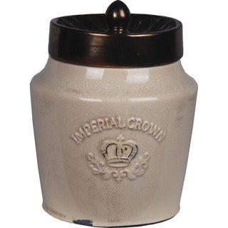 Privilege Tan Ceramic Jar with Lid