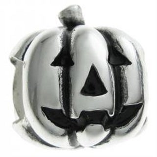Queenberry Sterling Silver Halloween Pumpkin European Bead Charm