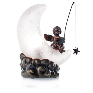 White Moon Cherub Accent Lamp