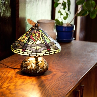"""Copper Grove Carnach 10-inch Stained Glass Mini Dragonfly Table Lamp - 10""""L x 10""""W x 10.5""""H"""