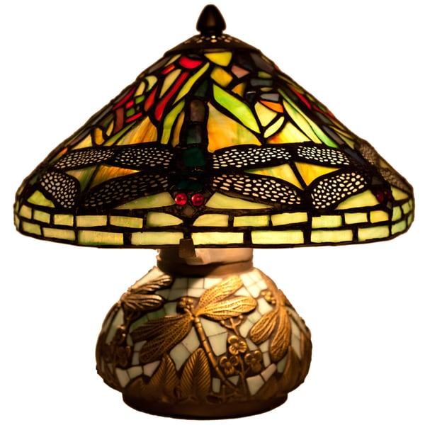 River Of Goods 10 Inch Tiffany Style Stained Glass Mini Dragonfly Table Lamp  With Mosaic