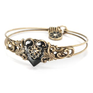Sweet Romance Enamel Heart Vintage Bangle Bracelet