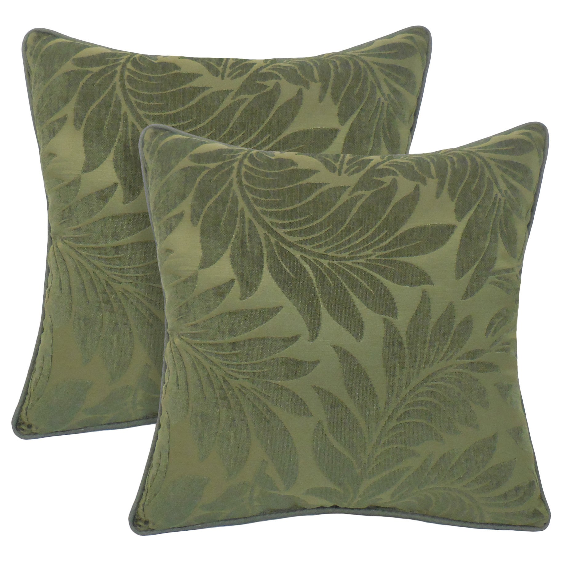 Alessandra Chenille Leaves Jacquard 18-inch Toss Pillow (...