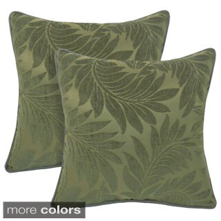 Alessandra Chenille Leaves Jacquard 18-inch Toss Pillow (Set of 2)