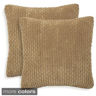 Beacon Ribbed Plush 20-inch Toss Pillow (Set of 2)