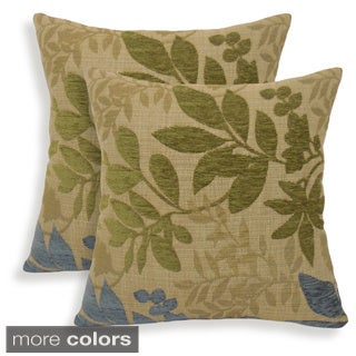 Bristol Chenille Jacquard Leaf 18-inch Toss Pillow (Set of 2)