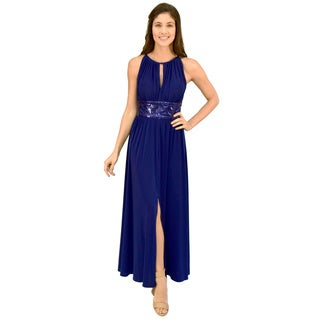 R&M Richards Sequin Waist Evening Gown