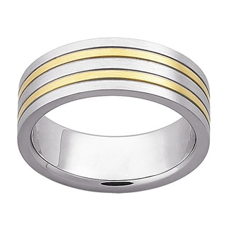 Mens Stainless Steel Dual Stripe Band