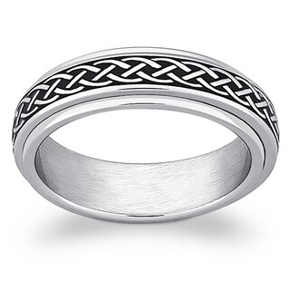 Stainless Steel Celtic Knot Engraved Spinner Band