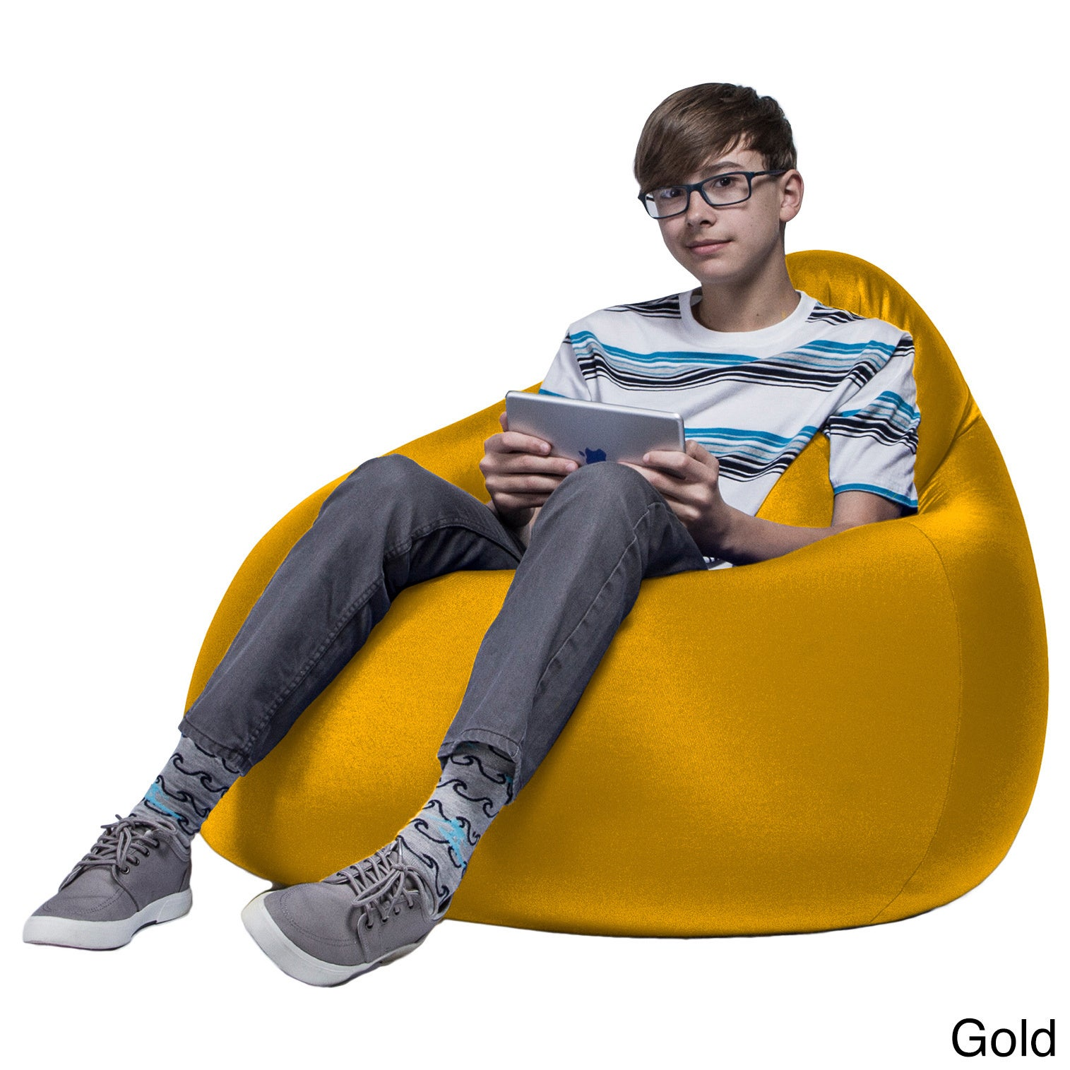Jaxx Nimbus Spandex Bean Bag Chair (Yellow), Gold, Size M...