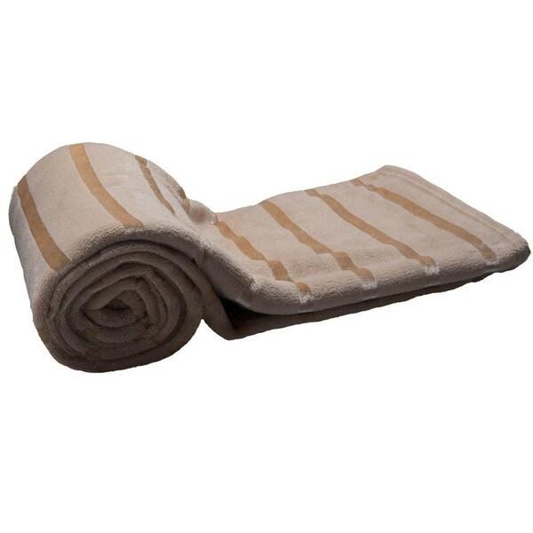 HS Coral Satin Stripe Throw Blanket