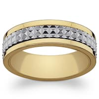 Stainless Steel and Gold Textured Spinner Band