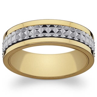 Link to Stainless Steel and Gold Textured Spinner Band Similar Items in Rings