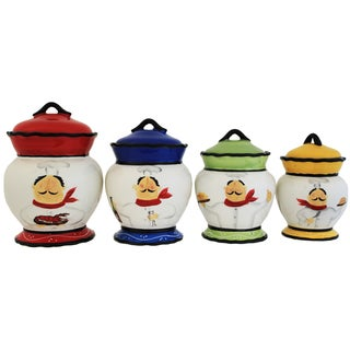 Chef Italiano Hand-painted 4-piece Food Storage Canister Set
