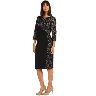 R&M Richards Women's Panel Lace Cocktail Dress