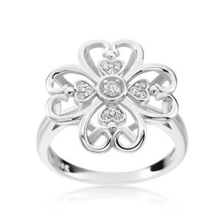 SummerRose 14k White Gold 1/8ct TDW Diamond Flower Ring