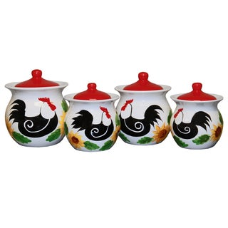Rustic Rooster Hand-painted Food Storage Canister 4-piece Set